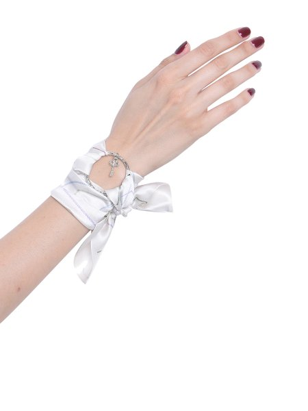 White Pure Silk Bracelet with Silver Ring