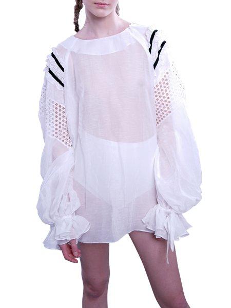 White Shirt with Black Velvet Ribbons
