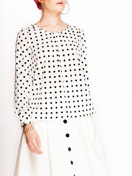 White Shirt with Dots