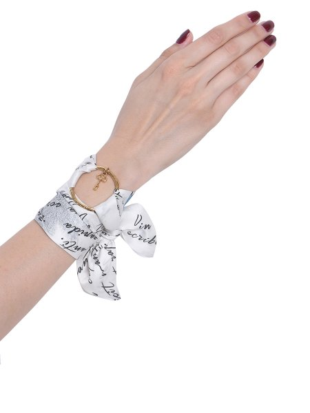 White Silk Bracelet with Golden Ring