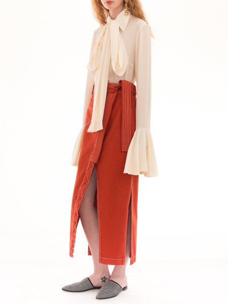 White Silk Shirt with Ruffle Sleeves and Scarf