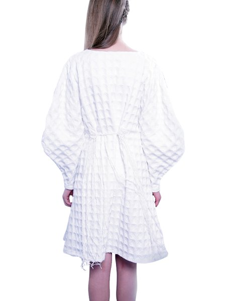 White Textured Cotton Dress