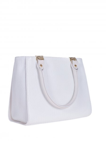 White Textured Handcrafted Bag