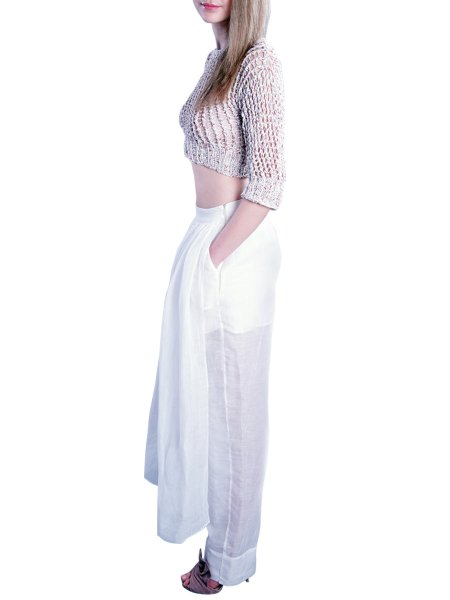 White Trousers with Midi Front Skirt