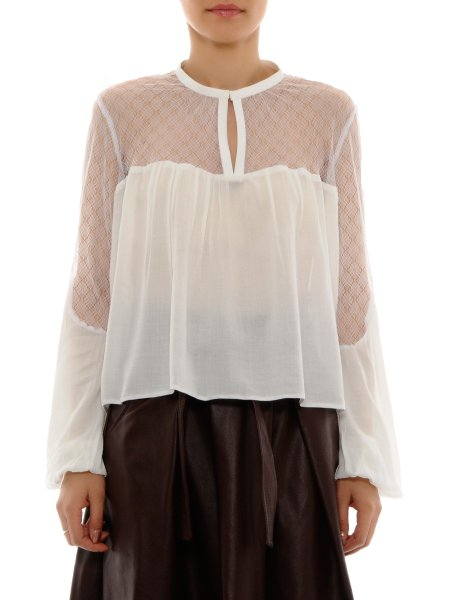 White Viscose Top with Lace Insertions