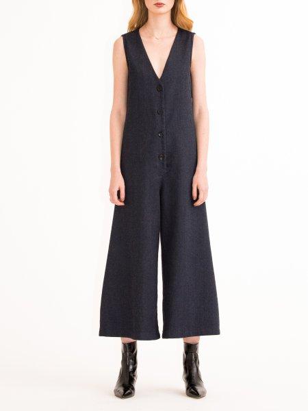 Wool Denim Jumpsuit
