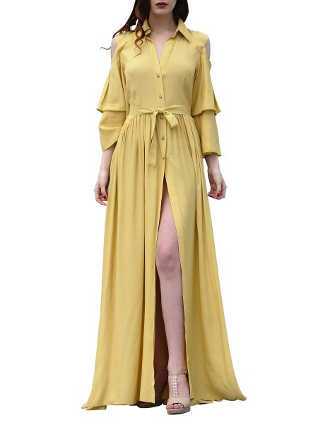 Yellow Maxi Dress With Front Split