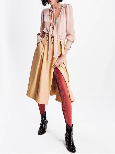 Yellow Synthetic Leather Skirt